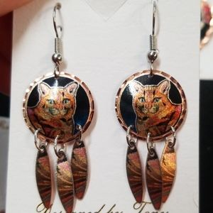 New Copper cat earrings handcrafted dangle jewelry